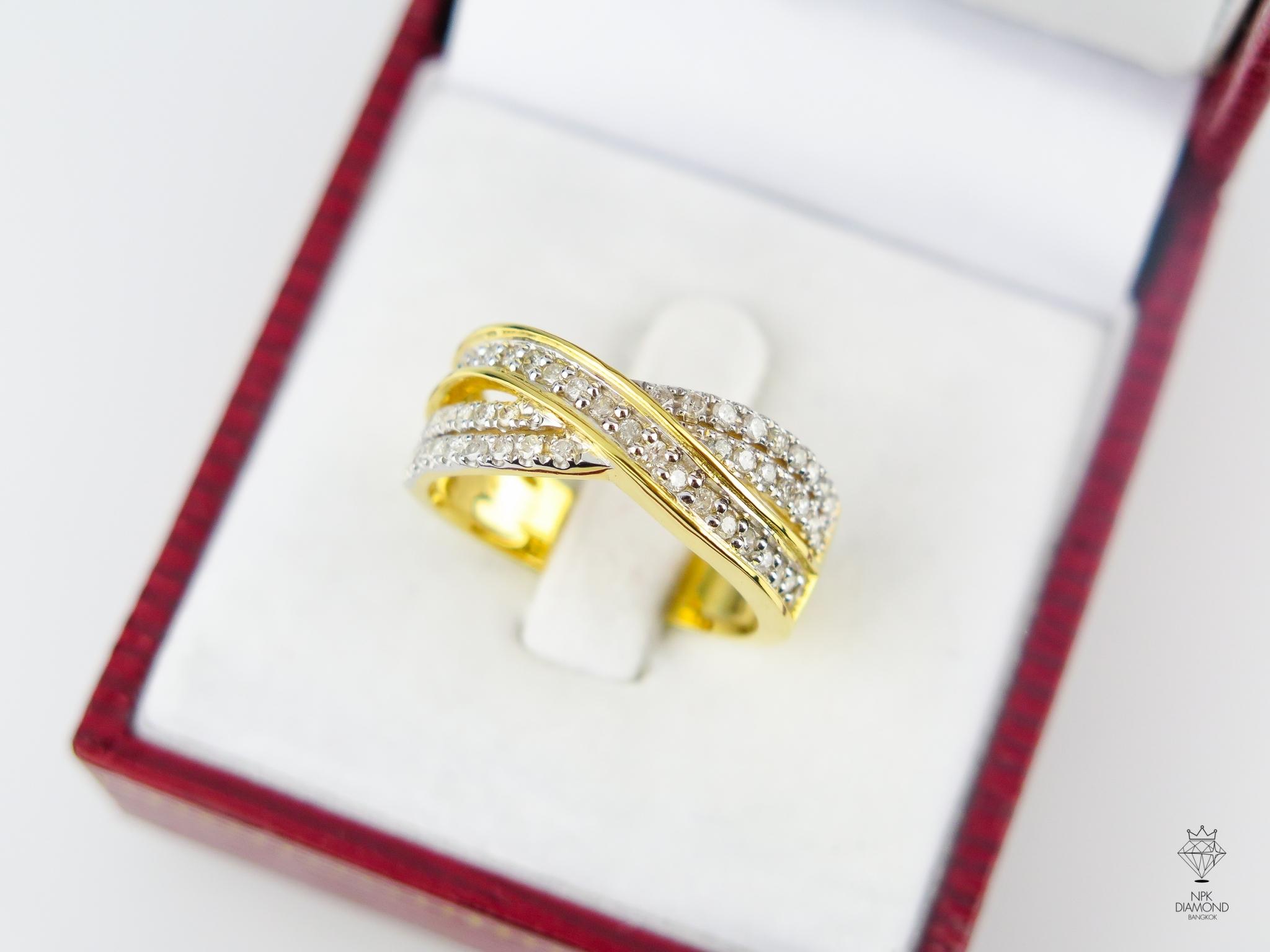 แหวน 9K เพชรไขว้ 2 แถว
