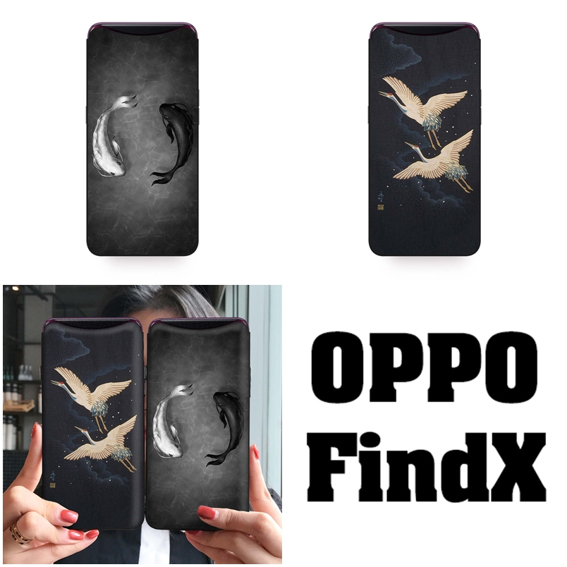 เคส OPPO Find X ลายปลาหยินหยาง เคสขอบซิลิโคน ด้านบนเว้นช่องให้กล้องสไลด์ขึ้นได้ หลังเคสเคลือบฟิล์มกระจกใสทำให้เคส เงาๆ สวยๆ
