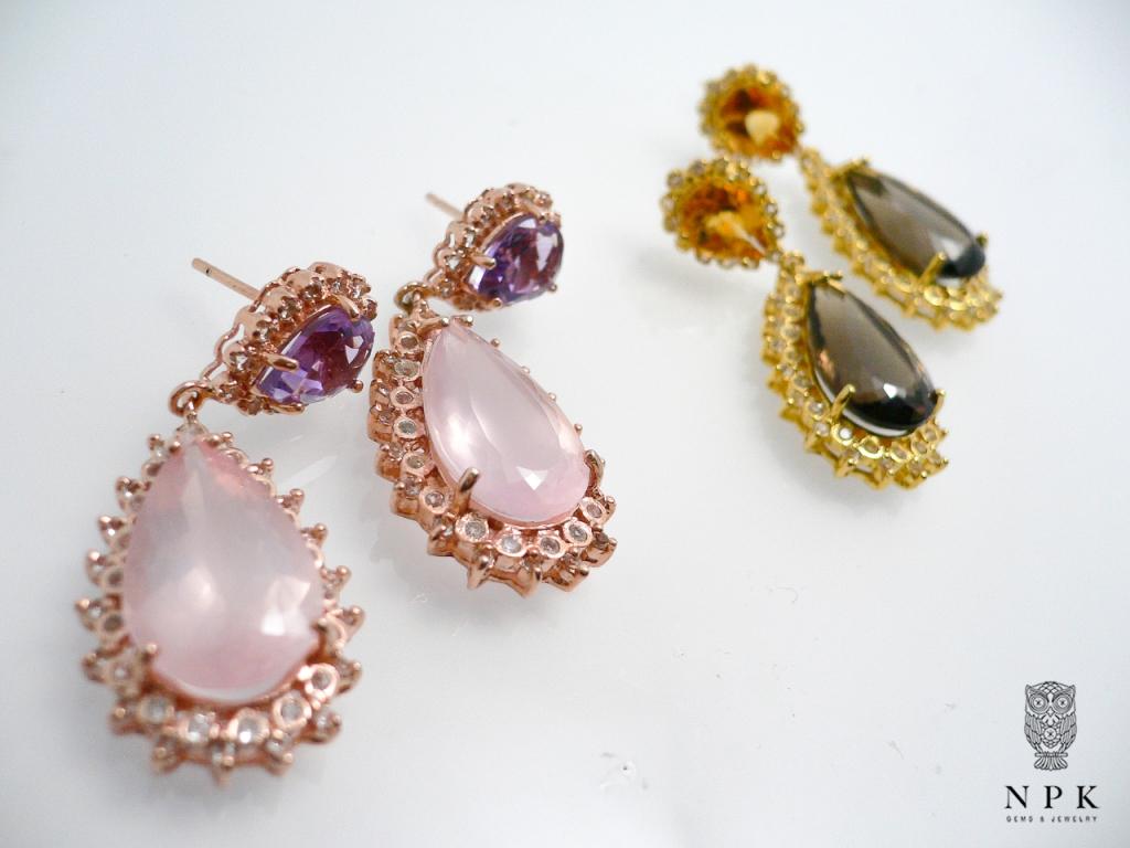 ต่างหูพลอยโรสควอตซ์และพลอยอเมทิสต์ (Rose Quartz And Amethyst Earring)
