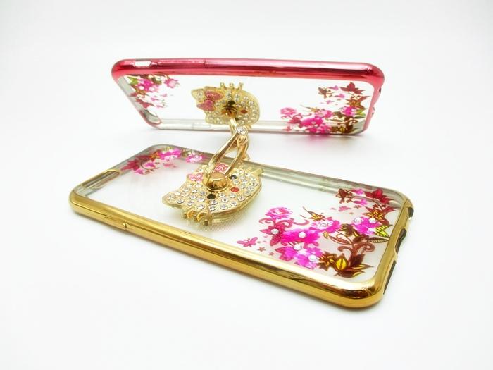 เคสลายดอกไม้ขอบโครเมียมแต่งแหวนเพชร ไอโฟน 6/6s plus 5.5 นิ้ว