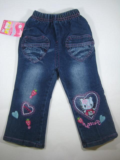 CNJ015 กางเกงยีนส์ เด็กหญิง ขายาว ผ้านิ่มใส่สบาย ปักแปะลายคิตตี้และหัวใจ กระเป๋าหน้ารูปหัวใจ Size 15/16