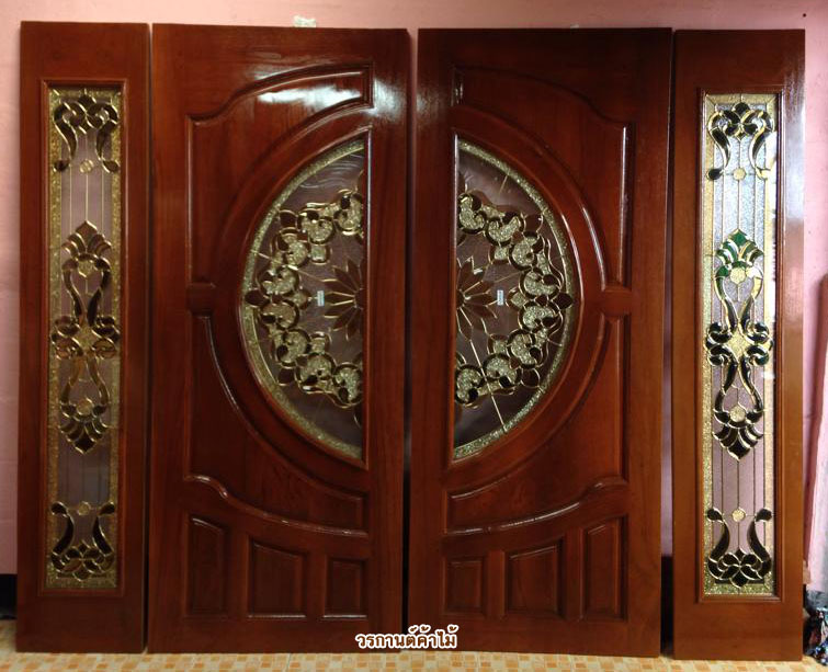 ประตูไม้สักบานคู่กระจกนิรภัย ชุด 4ชิ้น รหัส AAA21