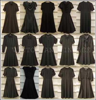 ชุดดำ ชุดเดรสวินเทจ เสื้อผ้าวินเทจ