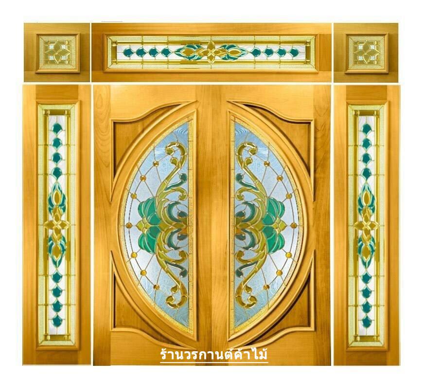 กระจกนิรภัยสเตนกลาส ประตูไม้สัก รหัส G07
