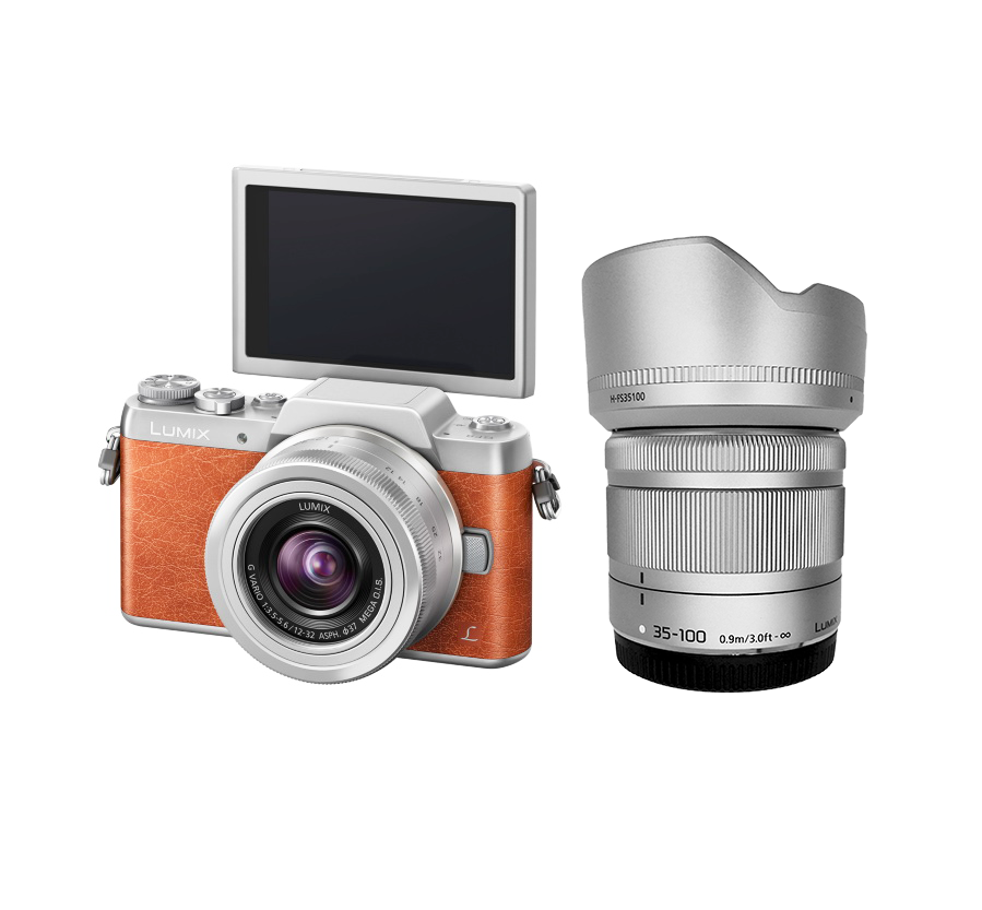 Panasonic GF8 + Lens 12-32 mm OIS + Lens 35-100 mm OIS (Orange)
