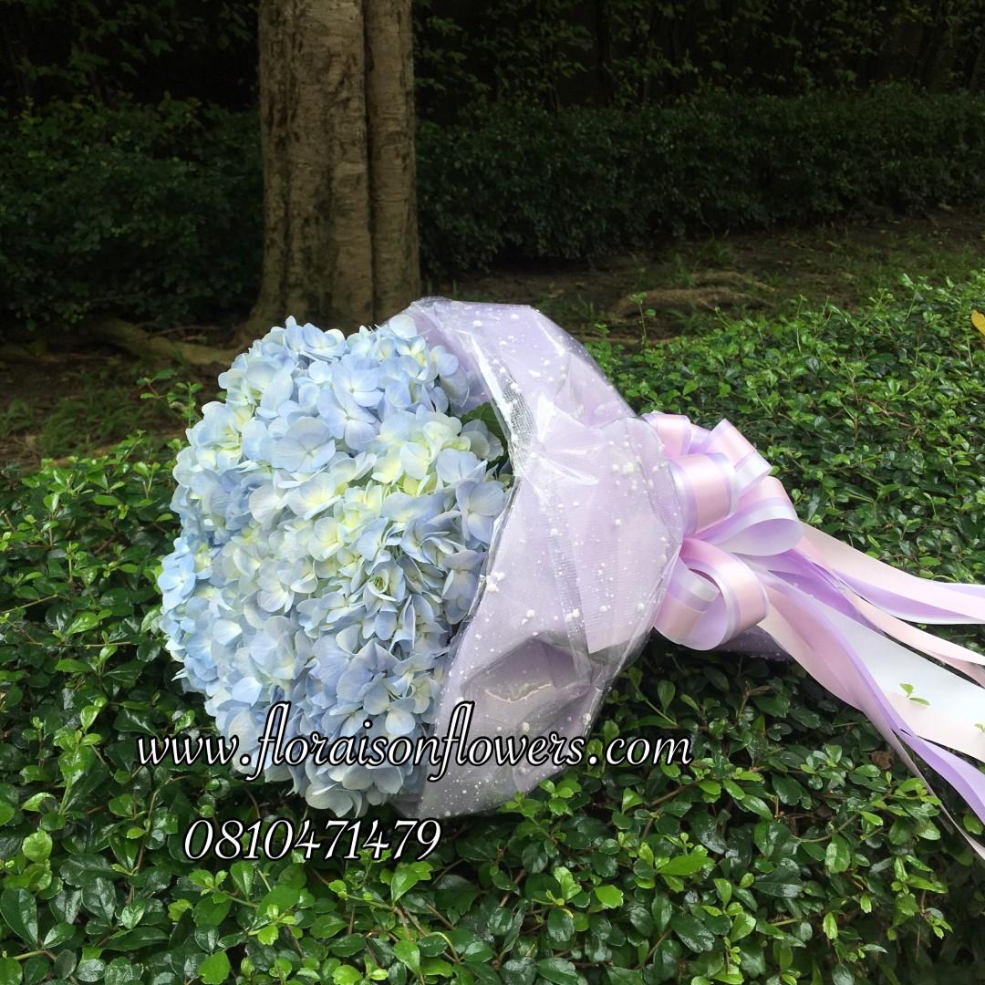 ช่อดอกไม้ไฮเดรนเยีย สีฟ้า โอกาสวันเกิด (M)