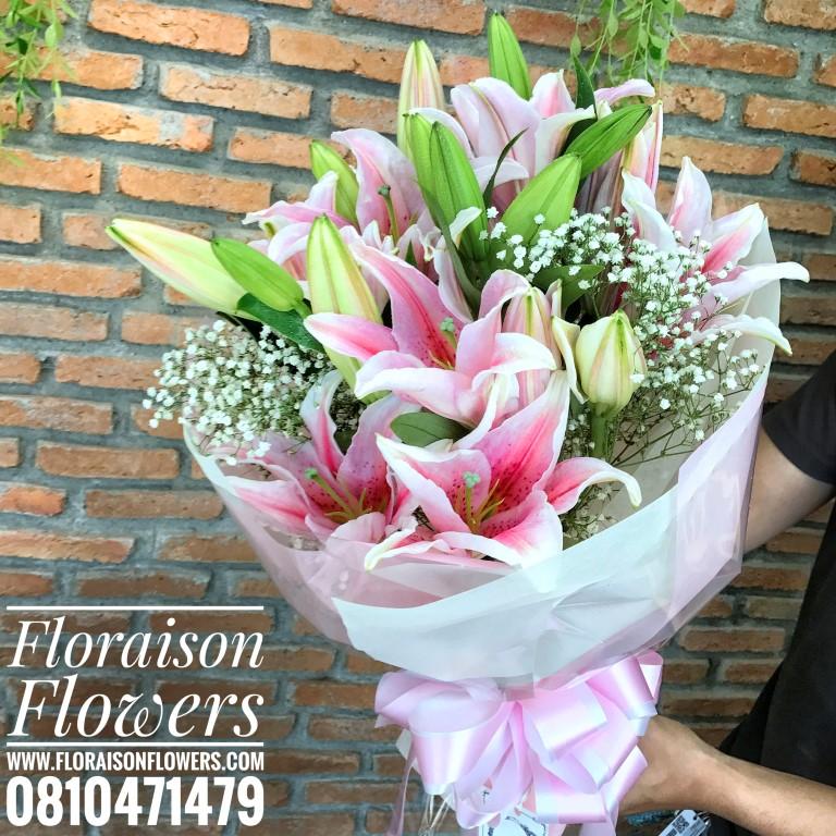 ช่อดอกไม้ลิลลี่สีชมพูหวานล้วน (M)