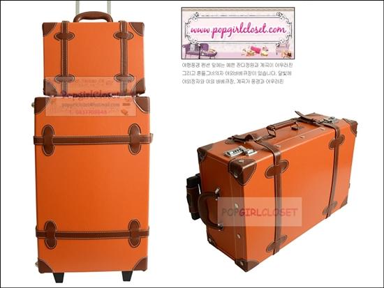 ยกเลิกการผลิต!!! กระเป๋าเดินทางวินเทจสไตล์เกาหลี ดีไซน์ออริจินัล 2 ล้อ คันชักด้านนอก สีส้มคาดน้ำตาล หนัง PU มี 3 ไซส์ 20, 22, 24 นิ้ว (Pre-order ราคาแต่ละรุ่นอยู่ด้านในนะคะ)