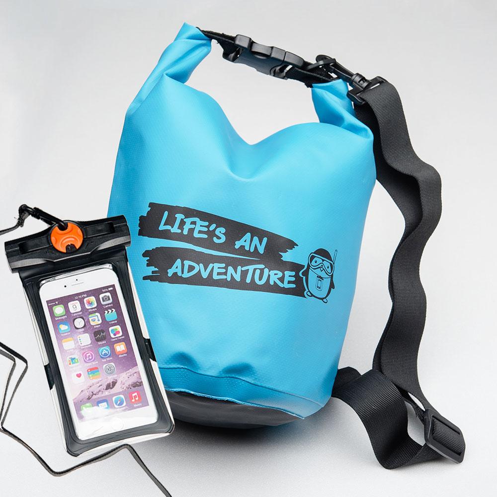 ชุด Set ซองกันน้ำมือถือเล็ก (4.7 นิ้ว) สีดำ + กระเป๋ากันน้ำ Penguin Bag ขนาด 5 ลิตร