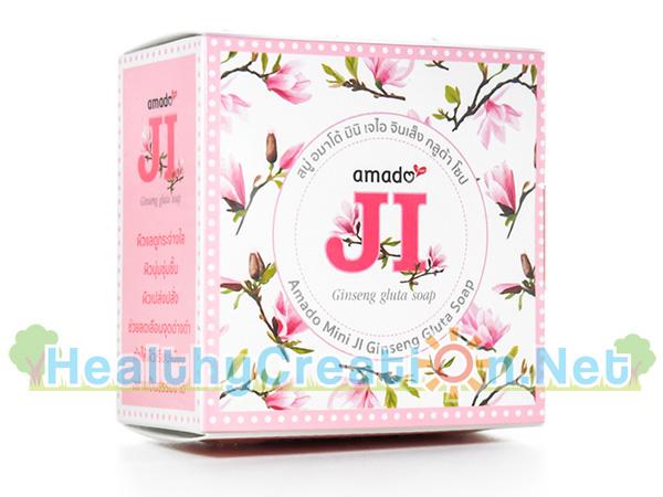 สบู่ Amado JI Ginseng Gluta Soap [100g. - สีชมพู] ช่วยลดเลือนจุดด่างดำ ทำให้ผิวเรียบเนียน แลดูมีสุขภาพดี