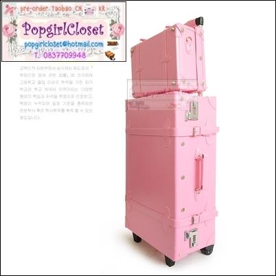 กระเป๋าเดินทางวินเทจสไตล์เกาหลี ดีไซน์ออริจินัล 2 ล้อ คันชักด้านนอก สีเบบี้พิ้งค์ หนัง PU มี 3 ไซส์ 20, 22, 24 นิ้ว (Pre-order ราคาแต่ละรุ่นอยู่ด้านในนะคะ)