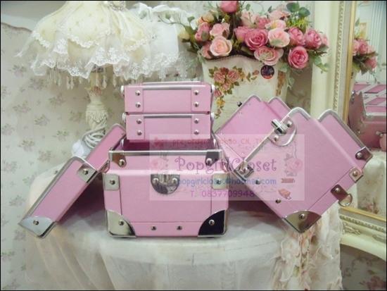 กระเป๋าเครื่องสำอางดีไซน์เมคอัพอาร์ทติสท์ อินเทรนด์เกาหลี สีชมพูอ่อน ไซส์ S (Pre-order)