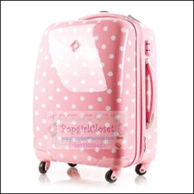 กระเป๋าเดินทางล้อลาก PC+ABS AIRCROSS Korea design สีชมพูอ่อนลายจุดขาว Light Pink / White Polka dot ไซส์ 17 นิ้ว และ 21 นิ้ว (Pre-order) ราคาสินค้าอยู่ด้านในค่ะ