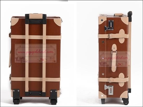 ยกเลิกการผลิต!!! กระเป๋าเดินทางวินเทจสไตล์เกาหลี ดีไซน์ออริจินัล 2 ล้อ คันชักด้านนอก สีน้ำตาลคาดเบจ BROWN/BEIGE หนัง PU มี 3 ไซส์ 20, 22, 24 นิ้ว (Pre-order ราคาแต่ละรุ่นอยู่ด้านในนะคะ)