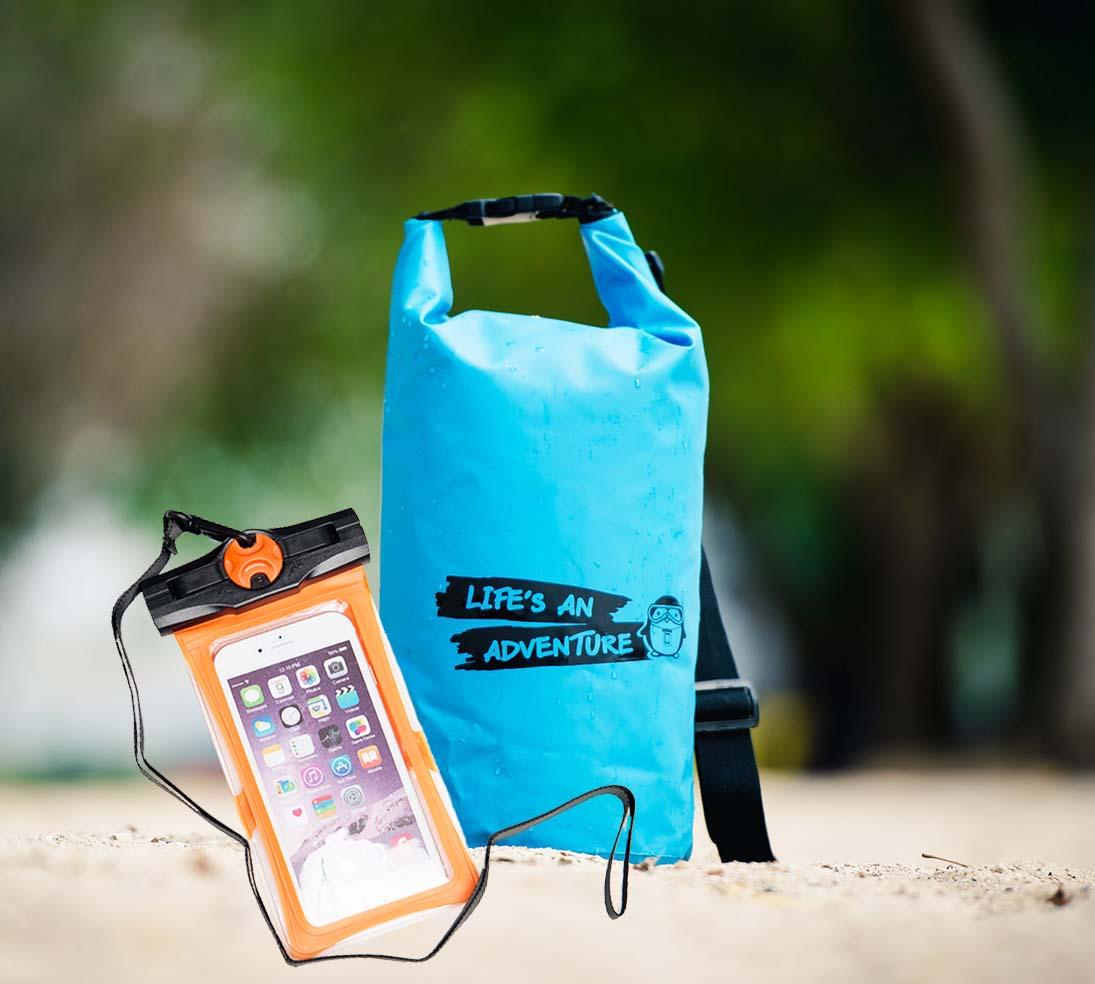 ชุด Set ซองกันน้ำมือถือใหญ่ (6 นิ้ว) สีส้ม + กระเป๋ากันน้ำ Penguin Bag ขนาด 10 ลิตร