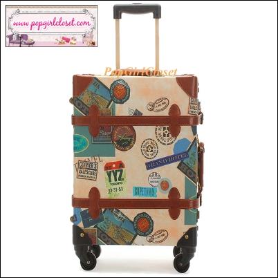 """กระเป๋าเดินทางดีไซน์วินเทจเรโทร วินเทจอัพเกรด 4 ล้อ """"Beige Stamp"""" Vintage Retro Suitcase European Style World Trunk มี 3 ไซส์ 20"""" 22"""" 24"""" หนัง PU (Pre-order) ราคาสินค้าอยู่ด้านในค่ะ"""