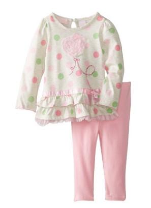 W005 : Set 2 ชิ้น เสื้อแขนยาวสีเทาลายจุด + กางเกงขายาวสีชมพู (4,5,6)