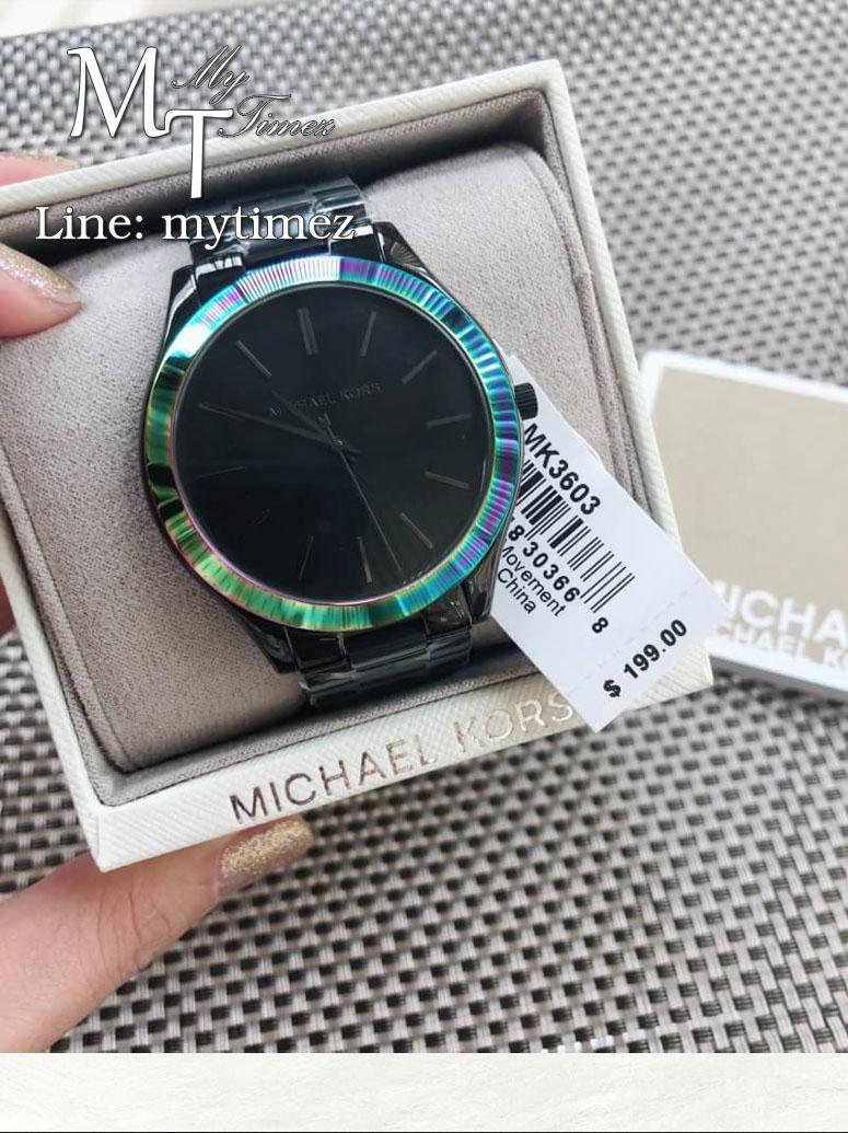 นาฬิกาข้อมือ MICHAEL KORS รุ่น Slim Runway Iridescent Black Stainless Steel Watch MK3603