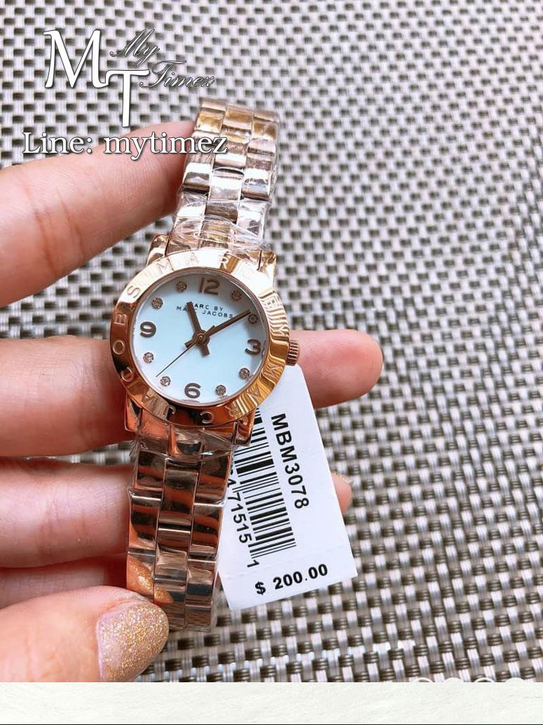นาฬิกาข้อมือ MARC BY MARC JACOBS Mini Amy White Dial Rose Gold-tone Stainless Steel Ladies Watch MBM3078