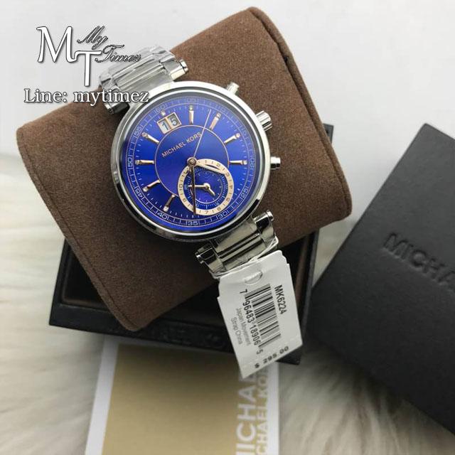 นาฬิกาข้อมือ MICHAEL KORS รุ่น Sawyer Blue Dial Stainless Steel Ladies Watch MK6224
