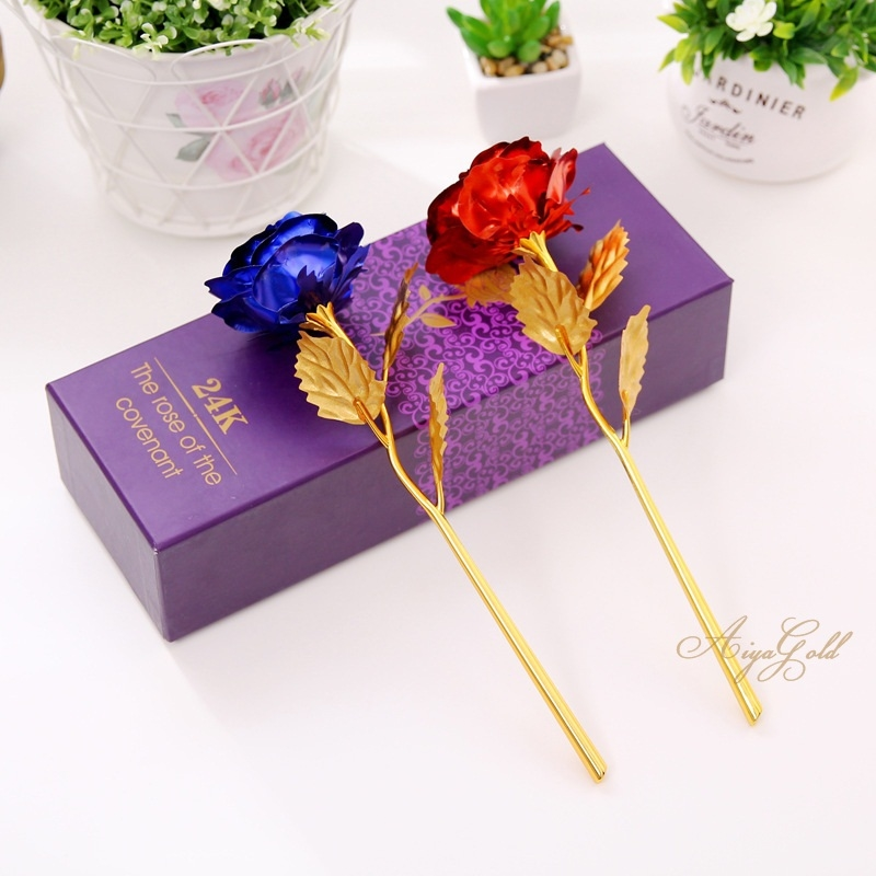 Golden Rose ดอกกุหลาบทอง 24 k พร้อมกล่อง / สีแดง/น้ำเงิน