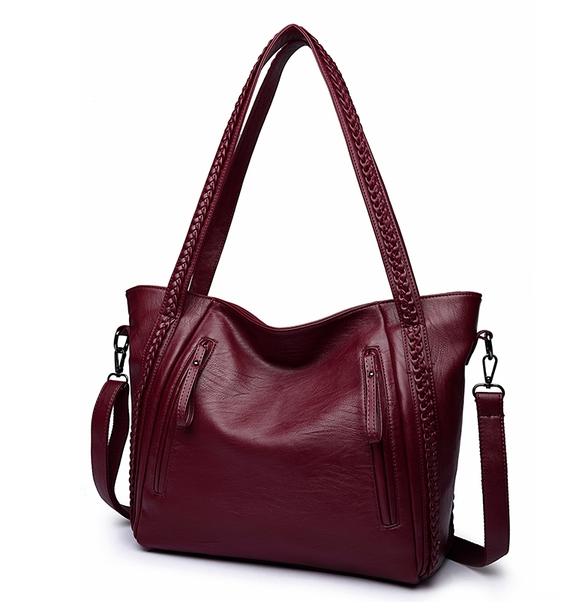 กระเป๋าสะพายข้างใบใหญ่ Two way leather wine