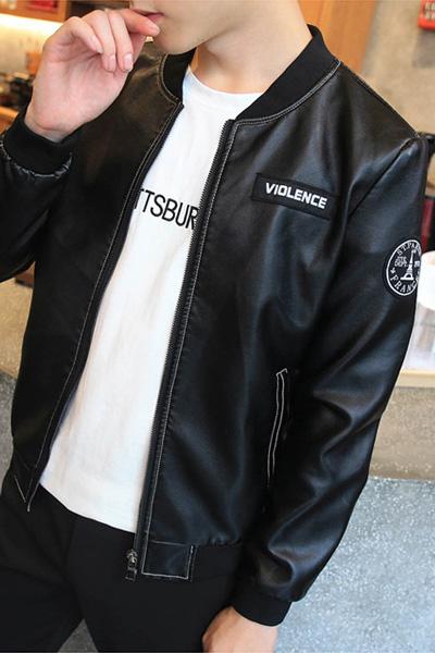 แจ็คเก็ตหนังผู้ชาย เสื้อหนังผู้ชาย พร้อมส่ง สีดำ หนัง PU คุณภาพงานพรีเมี่ยม งานสวยเหมือนแน่นอนค่ะ
