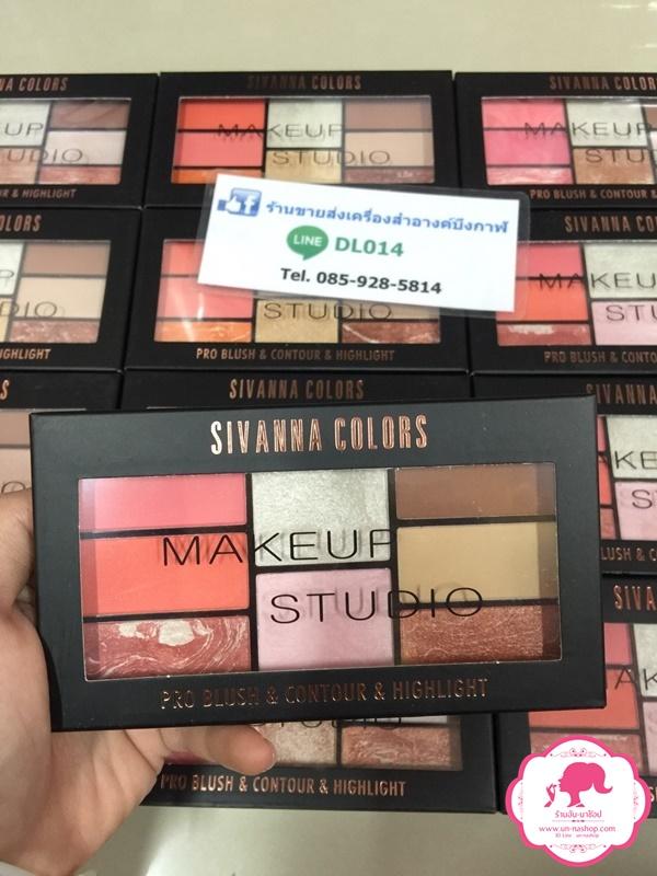 Sivanna Colors Pro Blush & Contour & Highlight HF369 สิวันนา 3in 1 ในพาเลทเดียว ปัดแก้ม/คอนทัวร์/ไฮไลท์