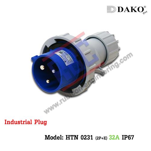 HTN 0231 ปลั๊กตัวผู้กลางทางกันน้ำ (2P+E) 32A / IP67