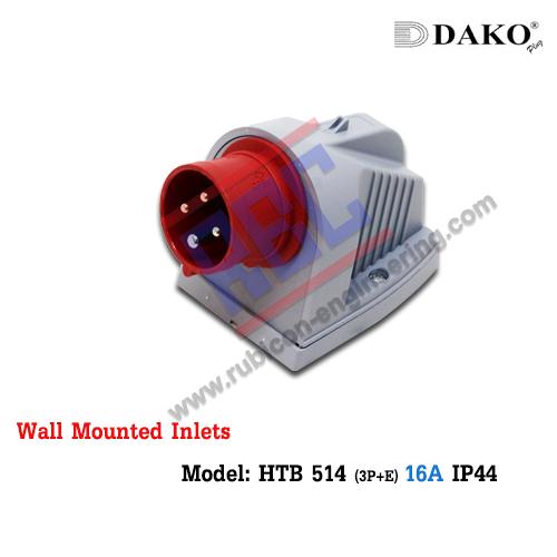 ปลั๊กตัวผู้ติดลอย HTB 514 , (3P+E) 16A ,380-415V ~,IP44 ,DAKO