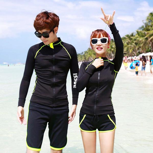 ชุดว่ายน้ำแขนยาว ผู้ชาย สีดำขอบเขียว (เสื้อ+กางเกงขาสั้น)