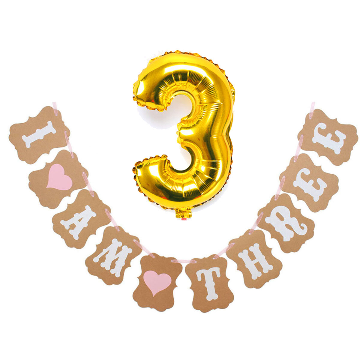 I AM THREE Birthday Set (Balloon + Flag) for Girl