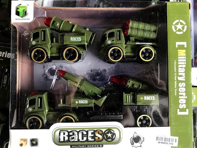 ของเล่น รถทหาร 4 คันเขียว