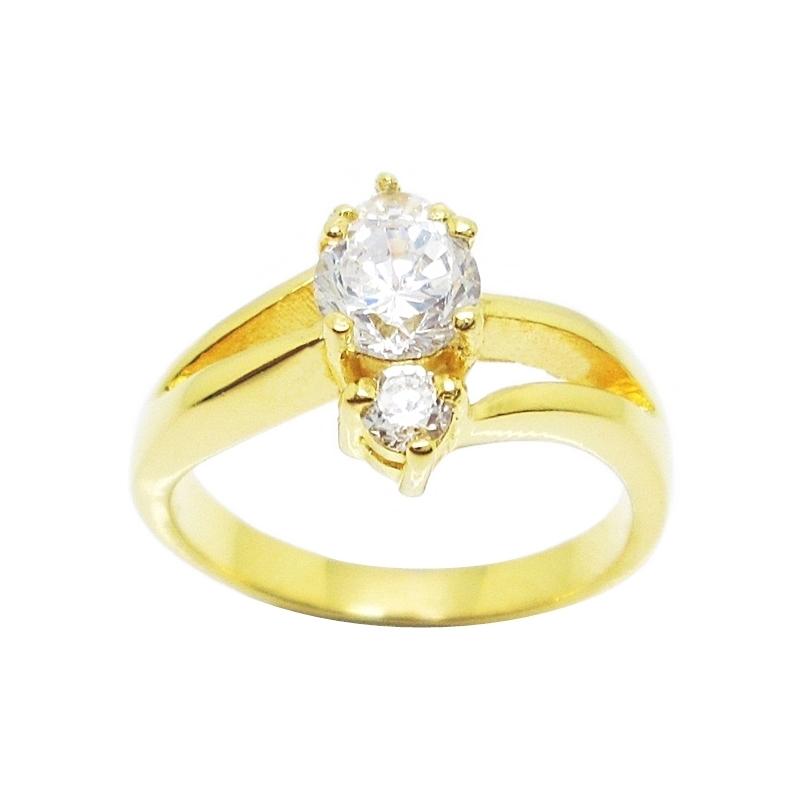 แหวนเพชรกะรัตประดับเพชรก้านแยกชุบทอง