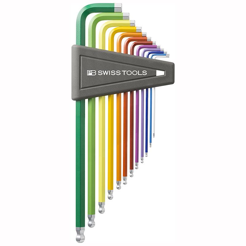 หกเหลี่ยมชุด PB Swiss Tools หัวบอล ยาว รุ่น PB 212 ZLH-12 RB เบอร์ 1/20 - 5/16 นิ้ว ระบุขนาดด้วยสี (12 ตัว/ชุด)