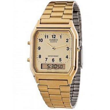 นาฬิกา CASIO ดิจิตอล สีทอง 2 ระบบ สตอเบอรี่ชีสเค้ก รุ่น AQ-230GA-9B STANDARD ANALOG DIGITAL RETRO CLASSIC ของแท้ รับประกันศูนย์ 1 ปี