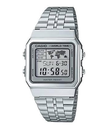 นาฬิกา CASIO ดิจิตอล สีเงินสายสแตนเลส รุ่น A500WA-7 STANDARD DIGITAL RETRO CLASSIC ของแท้ รับประกันศูนย์ 1 ปี