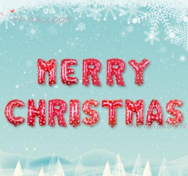 MERRY CHRISTMAS [ยกเซต] ขนาด 16 นิ้ว - สีแดงลายหัวใจ