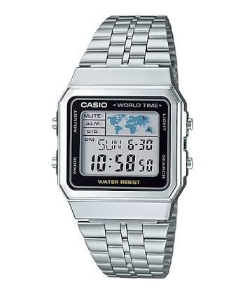 นาฬิกา CASIO ดิจิตอล สีเงินสายสแตนเลส รุ่น A500WA-1 STANDARD DIGITAL RETRO CLASSIC ของแท้ รับประกันศูนย์ 1 ปี