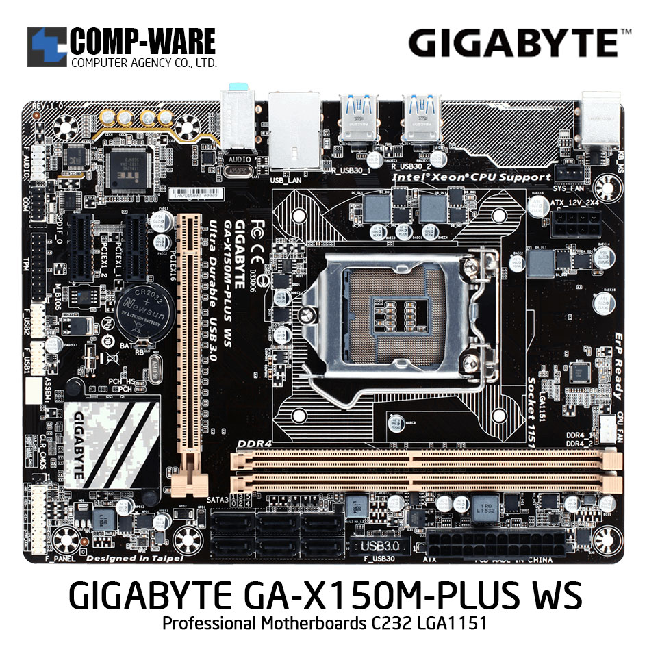 GIGABYTE GA-X150M-PLUS WS Professional Motherboards - C232 - Single socket board Support Xeon E3-1200 V5/V6 family