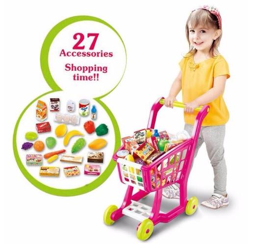 ตระกร้าช๊อปปิ้งใหม่ Home shopping Cart สีชมพู อุปกรณ์ 27 ชิ้น ส่งฟรี