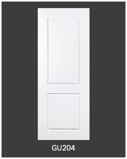 ประตู uPVC 2 ช่องตรงเรียบ GU-004/204 70*200 สีขาว ไม่เจาะลูกบิด Green Plastwood