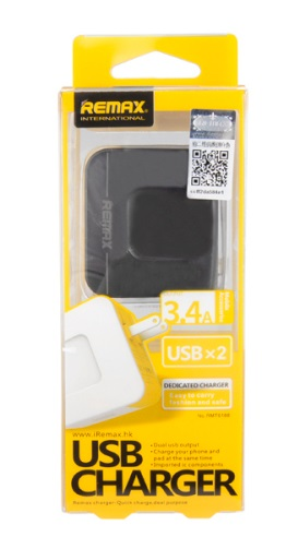 Remax Dual USB Charger 3.4A สีดำ