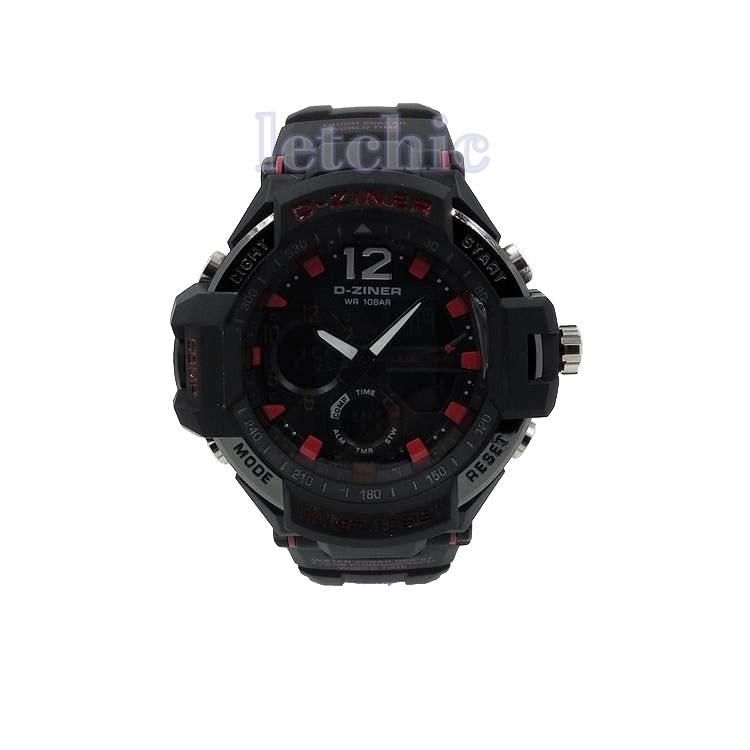 นาฬิกา D-Ziner Sport watch รุ่น DZ-8067B นาฬิกาข้อมือ unisex สีแดงดำ สายสีดำ ของแท้ รับประกันศูนย์ 1 ปี ราคาพิเศษ ราคาถูกที่สุด