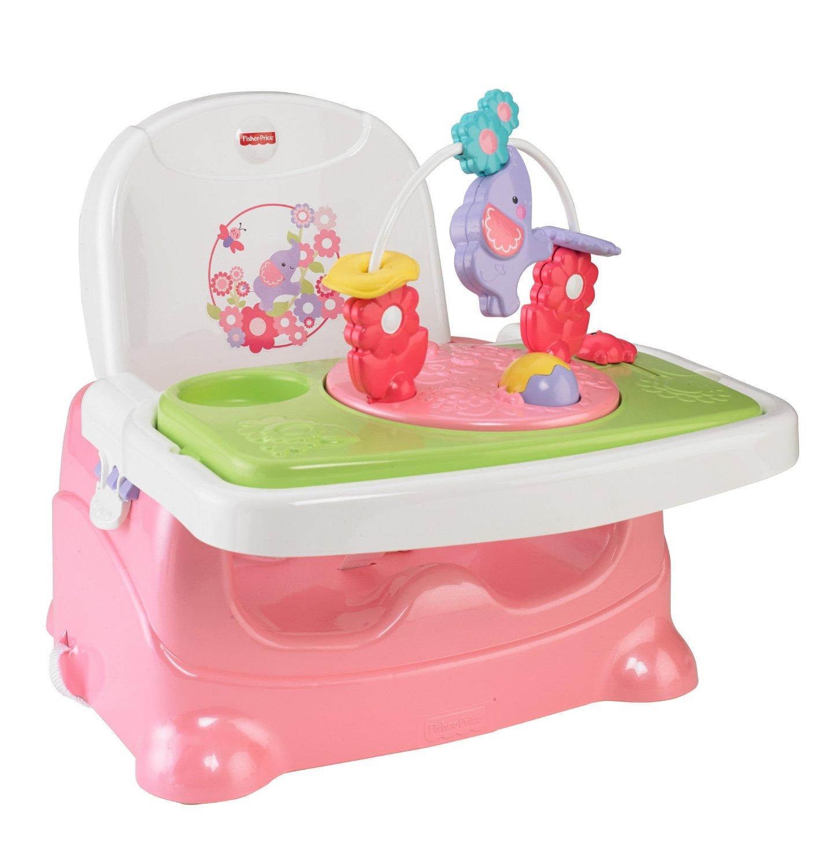 เก้าอี้เด็ก ขนาดพกพา มาพร้อมของเล่น Fisher-Price Pretty in Pink Booster Seat, Elephant ลายชบาแก้ว