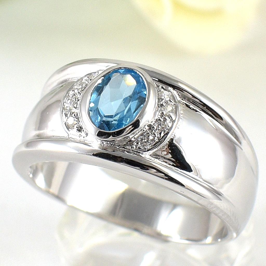 แหวนพลอยผู้ชายเงินแท้ 92.5 เปอร์เซ็น ฝังด้วยพลอยสวิสบลูโทปาซแท้