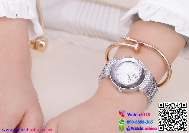 นาฬิกาข้อมือแฟชั่นนำเข้า ผู้หญิง GEDI สีเงิน หน้าขาว กันน้ำ + ของแท้