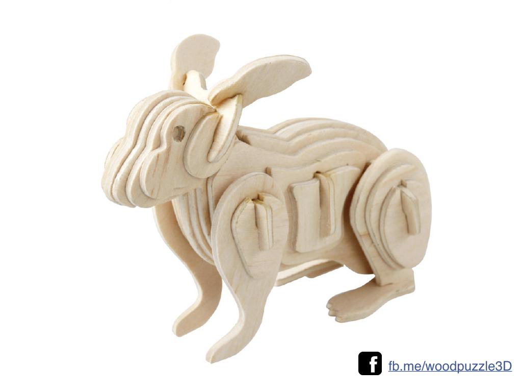 ตัวต่อไม้ 3 มิติ จิ้กซอว์ไม้ ตัวต่อไม้กระต่ายท่ายืน 3D Animal Puzzle