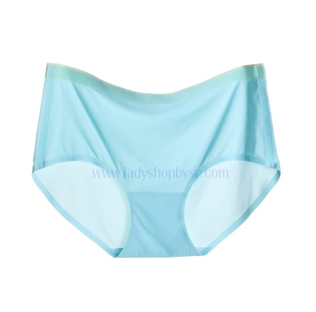 กางเกงในไร้ขอบแถบสี ขอบเรียบ สีฟ้า