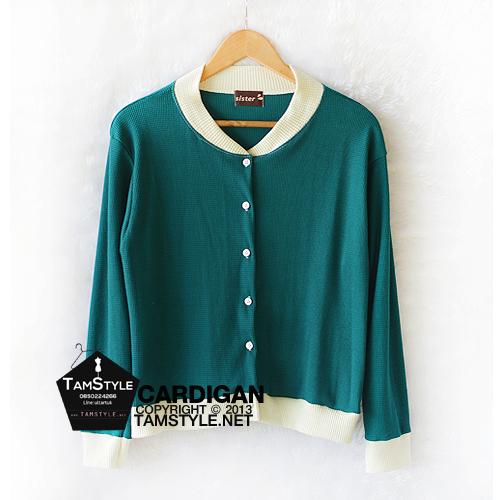 Coat-221 เสื้อคลุมแฟชั่นสีเขียว แต่ง คอและขอบแขนสีขาว อก 38 นิ้วยาว 23 นิ้ว (สินค้าพร้อมส่ง)